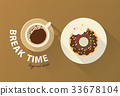 Coffee break time with chocolate donuts 33678104