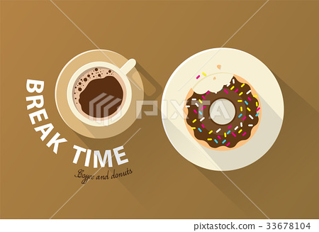 Coffee break time with chocolate donuts - Stock ...