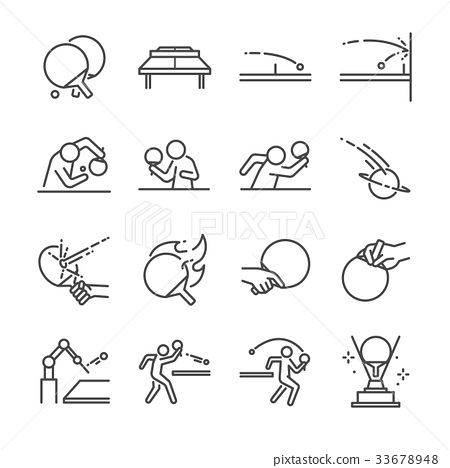Ping Pong line icon set.  33678948