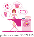 Woman irons clothes and thinks of other homework 33679115