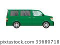 Isolated Green Minivan in Simple cartoon style 33680718