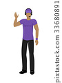 Cartoon Icon Referee in Violet and Black Uniform 33680891