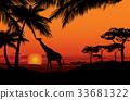 African landscape Sunset skyline Animal background 33681322