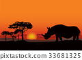 African landscape Sunset skyline Animal background 33681325