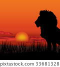 African landscape Sunset skyline Animal background 33681328