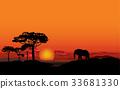 African landscape Sunset skyline Animal background 33681330
