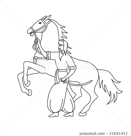 Vector illustration of cossack with horse 33681452