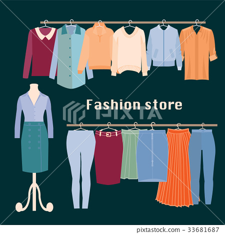Clothing store. Boutique indoor Fashion store. 33681687