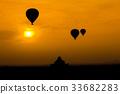 Myanmar Sunrise silhouette balloon air in Bagan  33682283