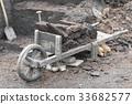 Old original wooden wheelbarrow. 33682577