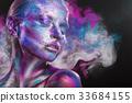 顏色 多彩的 煙 33684155