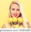 woman beautiful flower 33685880