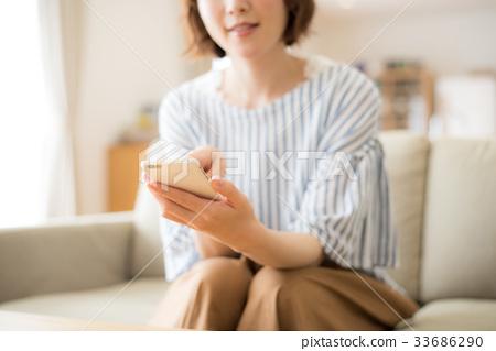 여성, 여자, 스마트폰 33686290