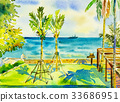Painting seascape color of sea and green garden  33686951