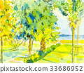 Painting seascape color of sea with green garden  33686952