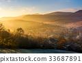 mountain, sunrise, fog 33687891