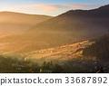 mountain, sunrise, fog 33687892