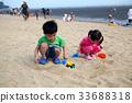 어린이, 놀이, 바다 33688318