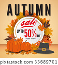 Autumn sale banner background template design 33689701