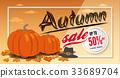 Autumn sale banner background template design 33689704