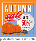 Autumn sale banner background template design 33689707