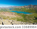 High altitude blue lake, dam on the Alps 33689964