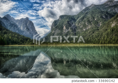 Dobbiaco, Landscape of the lake in the mountains 33690142