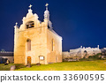 Old church in castle at night 33690595