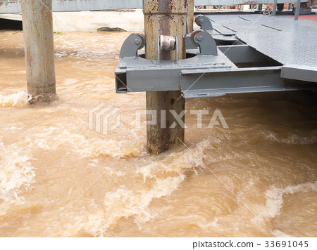 roller support pole pontoon rapid flowing river 33691045