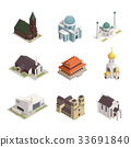 Church Cathedral Mosque Isometric Icons 33691840