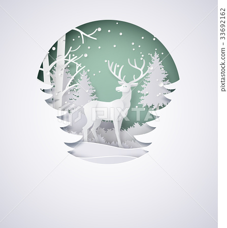 Deer in forest with snow  33692162