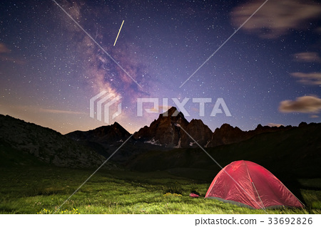 Camping under starry sky and milky way. 33692826