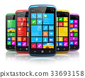 Modern smartphones with touchscreen interface 33693158