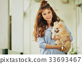 Beautiful woman and a dog 33693467
