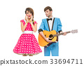 doll looking boy and girl with guitar 33694711