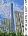 빌딩, 푸른, 도심 33694969