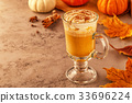 Pumpkin spice latte with whipped cream 33696224