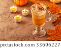 Pumpkin spice latte with whipped cream 33696227