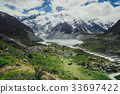 Mountains, Lakes and Meadow Landscape 33697422