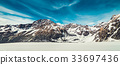 Winter landscape of snow mountain background. 33697436