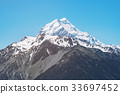Close up view of Mt Cook in New Zealand 33697452