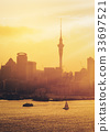 Golden sunset at Auckland city, New Zealand. 33697521