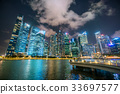 Singapore Skyline at Night from Marina Bay 33697577