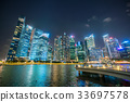Singapore Skyline at Night from Marina Bay 33697578