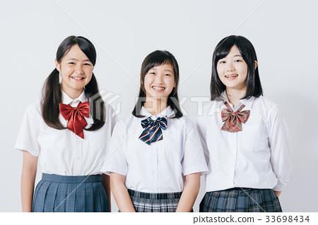 高中女孩白色背景 33698434