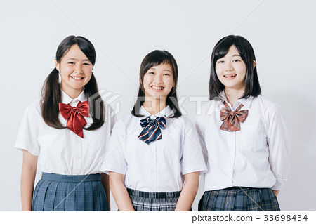 High school girl white background 33698434