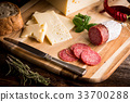 Dry salami or sausage with cheese and herbs 33700288
