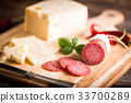 Dry salami or sausage with cheese and herbs 33700289