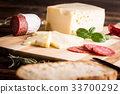 Dry salami or sausage with cheese and herbs 33700292