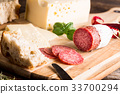 Dry salami or sausage with cheese and herbs 33700294